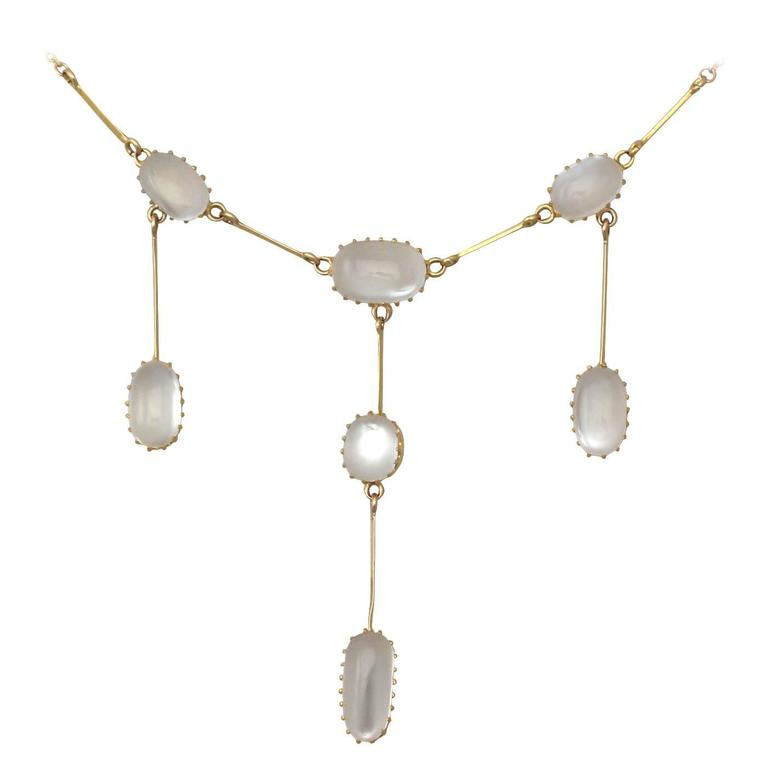 10.35Ct Moonstone & 12k Yellow Gold Pendant Drop Necklace - Antique and Vintage