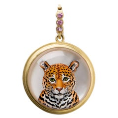 Reverse Crystal Gold Leopard Pendant
