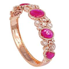 Stunning Ruby Stone Diamond Gold Oval Bangle Bracelet