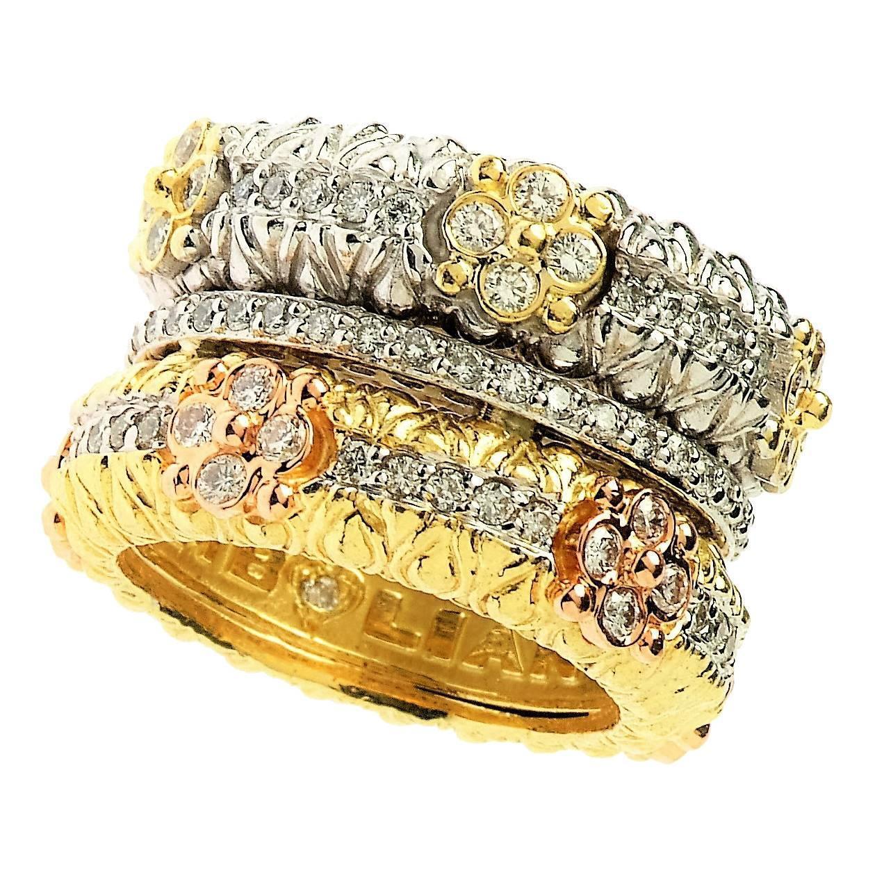 Stambolian Diamond Three-Color Gold Band Ring at 1stdibs