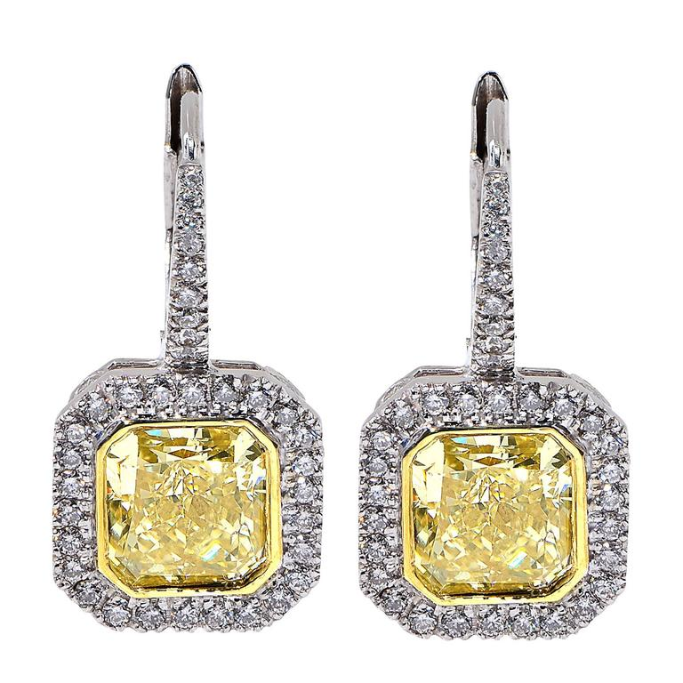 4.60 Carat Yellow Diamond Earrings For Sale