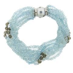 Trianon Aquamarine Bead Pearl Diamond Gold Bracelet