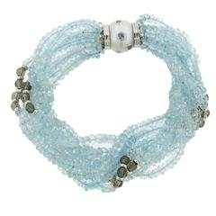 Trianon Aquamarine Bead Pearl Diamond Gold Bracelet