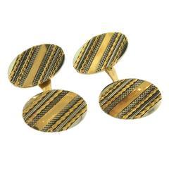 Classic Art Deco Oval Gold Cufflinks