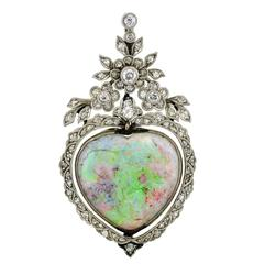 Art Nouveau Opal Diamond Gold Heart Pendant