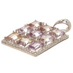 Ametrine Diamond Gold Pendant
