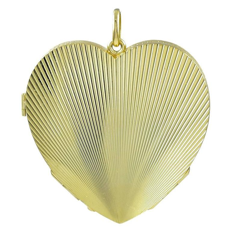 Large Heavy Gold Four-Picture Heart Locket  For Sale