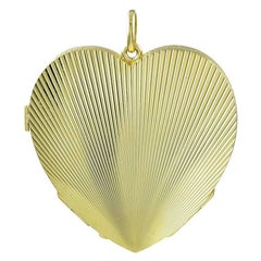 Large Heavy Gold Four-Picture Heart Locket