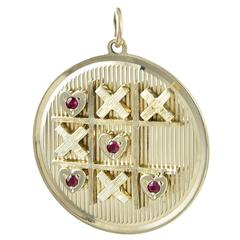 Very Special Tic Tac Toe Gemset Gold Charm