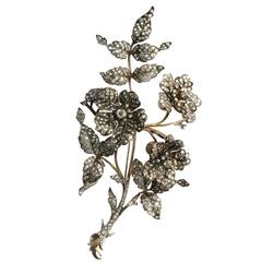 Antique Diamond Silver Gold En Tremblant Flower Brooch