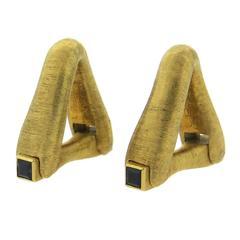 Bijan Sapphire Gold Stirrup Cufflinks