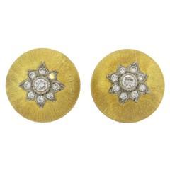Buccellati Diamond Gold Button Earrings