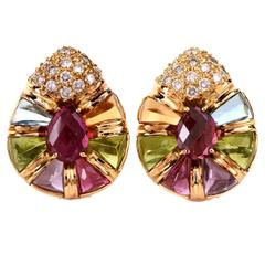 Laura M Multi Gem Diamond Gold Earrings