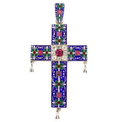 Antique Pre-Raphaelite Style Enamel Sapphire Silver Gilt Cross Pendant