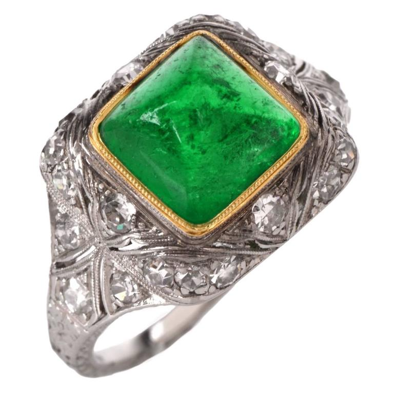 Antique Art Deco Colombian Emerald Diamond Platinum Engagement Ring at 1stdibs
