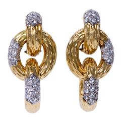 Wander France Diamond Gold Circular Link Drop Earrings