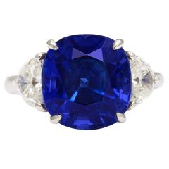 Mid-Century Sapphire Diamond Platinum Ring