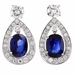 Certified Sapphire Diamond Platinum Drop Earrings