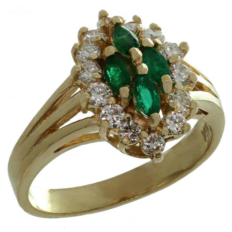 Marquise Emerald Diamond Gold Ring
