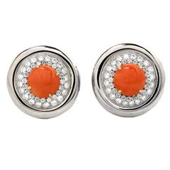 Coral Diamond Gold Clip Earrings
