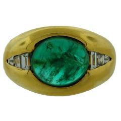 1970s BULGARI BVLGARI Cabochon Emerald Diamond Yellow Gold Ring