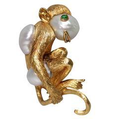 1980s David Webb South Sea Pearl Gold Monkey Brooch