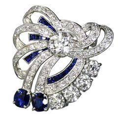 Yard Sapphire Diamond Bow Clip