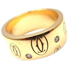 Cartier Diamond Gold Logo Band Ring
