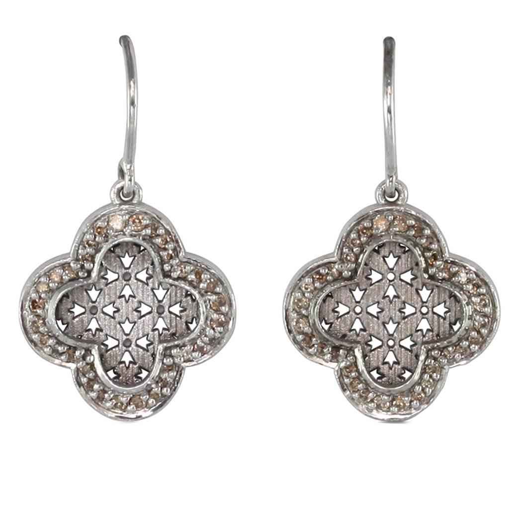 champagne diamond and palladium earrings at 1stdibs. Black Bedroom Furniture Sets. Home Design Ideas