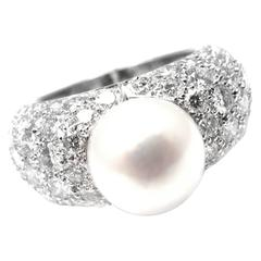 Cartier Juliette Cultured Pearl Diamond Gold Ring