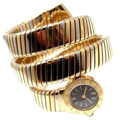 Bulgari Lady's Tricolor Gold Tubogas Serpent Bracelet Wristwatch