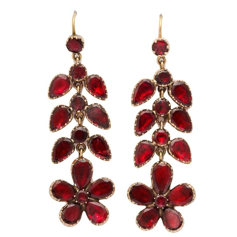 Georgian Garnet Chandelier Earrings Signify Affection For Sale