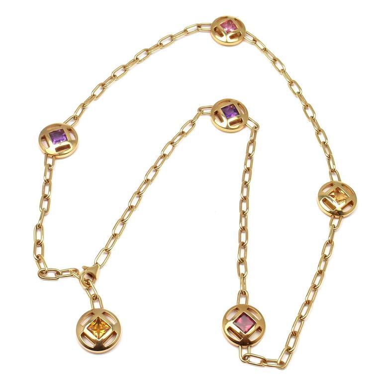 Cartier Pasha Sapphire Amethyst Citrine Tourmaline Gold Necklace For Sale