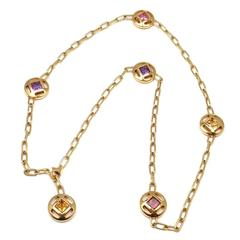 Cartier Pasha Sapphire Amethyst Citrine Tourmaline Gold Necklace