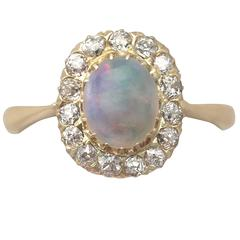 1920s Antique Opal & Diamond Yellow Gold Cluster Ring