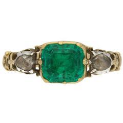 Georgian emerald rose cut diamond Gold Ring