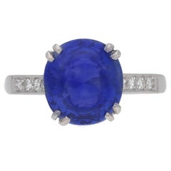 Natural Burmese Sapphire Diamond Platinum Ring