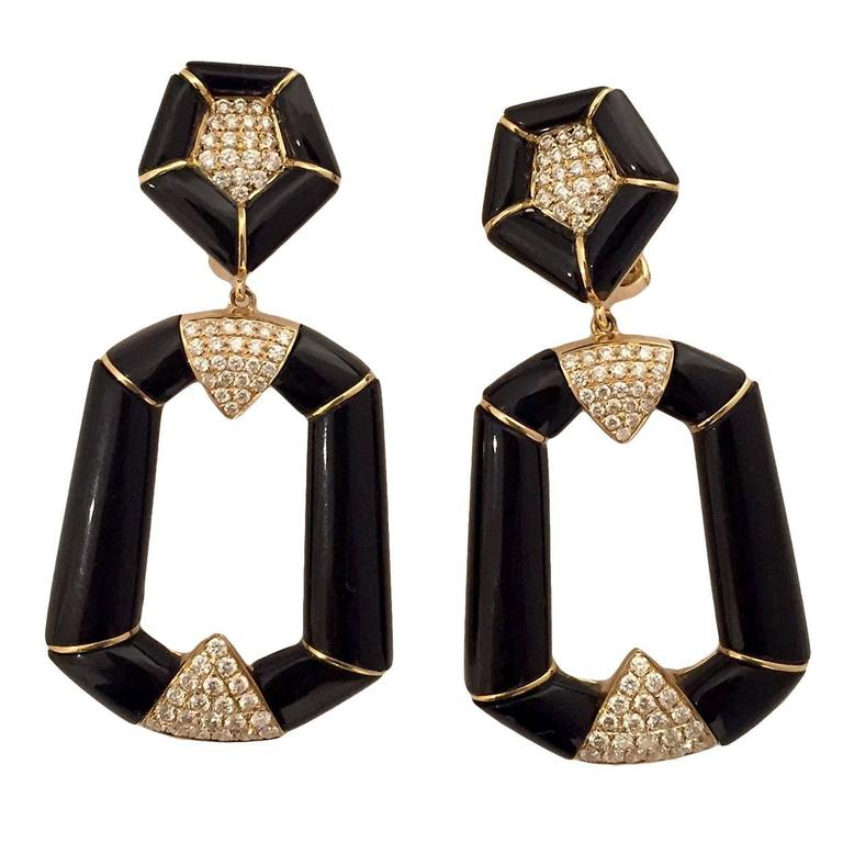 Onyx Diamond Gold Dangle Earrings