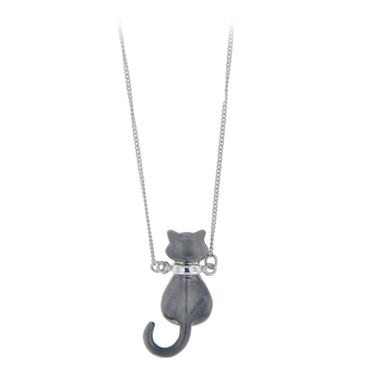 Jona Sterling Silver Cat Pendant Necklace