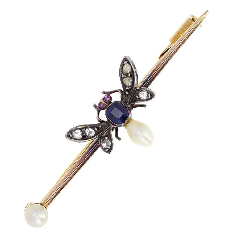 Antique Pearl Sapphire Gold Bug Pin Brooch For Sale