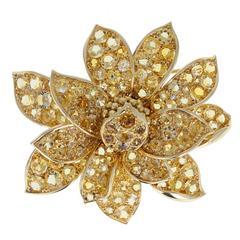 French Citrine Gold Flower Brooch