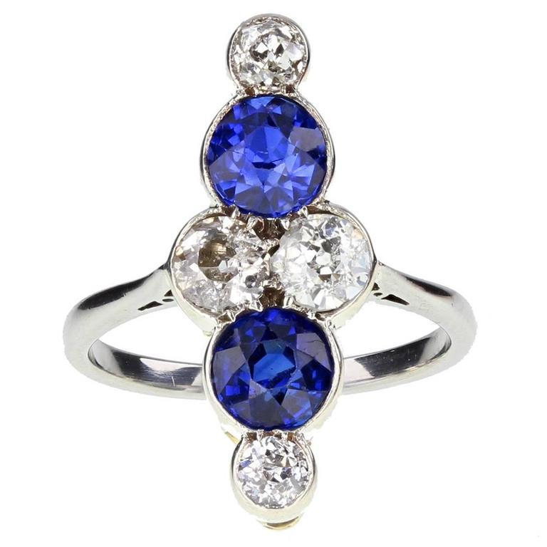 Art Deco Sapphire Diamond Gold Platinum Cluster Ring