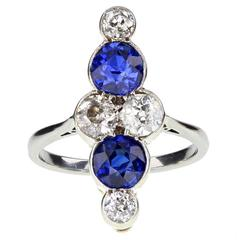 Art Deco Sapphire Diamond Gold Platinum Cluster Ring