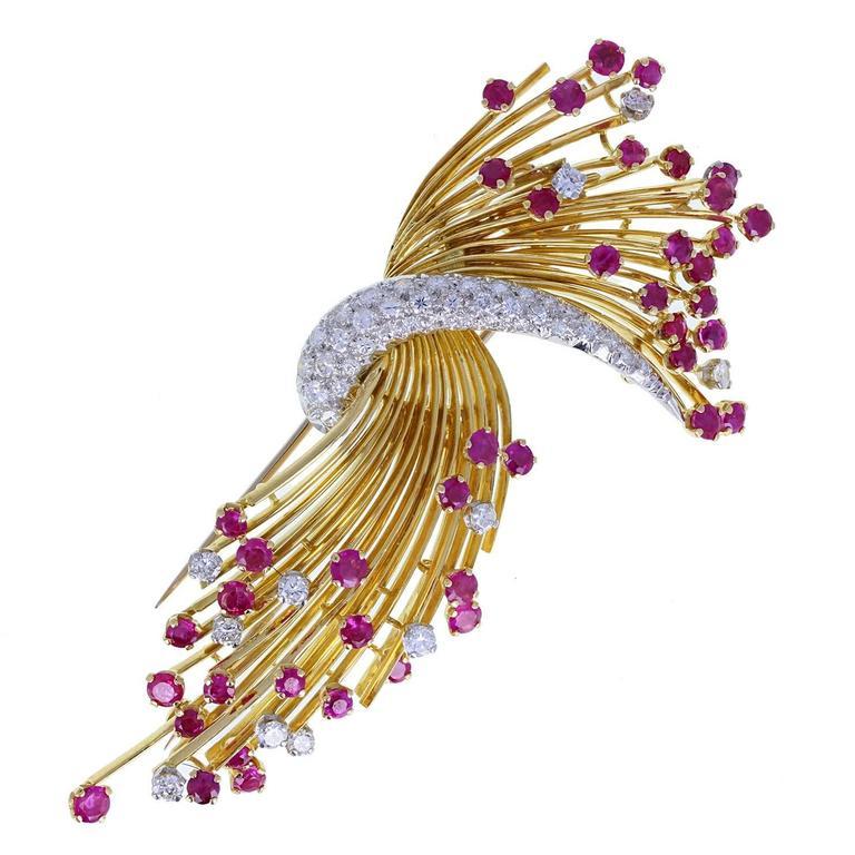 Kutchinsky Ruby Diamond Gold Spray Brooch