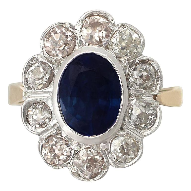 1920s 2.80 Carat Sapphire & 1.50Carat Diamond Rose Gold Silver Set Cocktail Ring