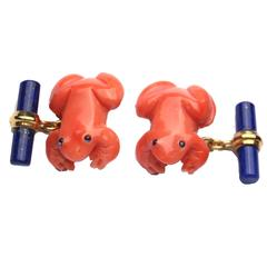 Fun Coral  Lapis Gold Frog Cufflinks