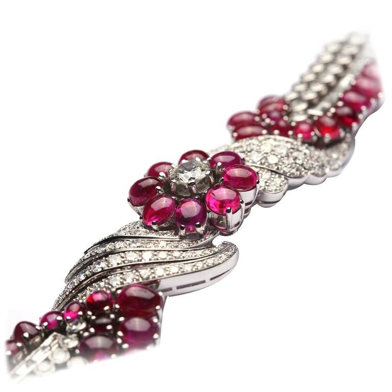 Important Burmese Ruby Diamond Gold Bracelet For Sale at 1stdibs