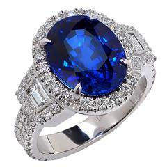 Stunning 6.22 Carat Sapphire Diamond Gold Ring