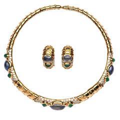 Marina B Emerald Sapphire Diamond Gold Set