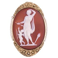 Woman and Cupid Stone Cameo with Seed Pearls